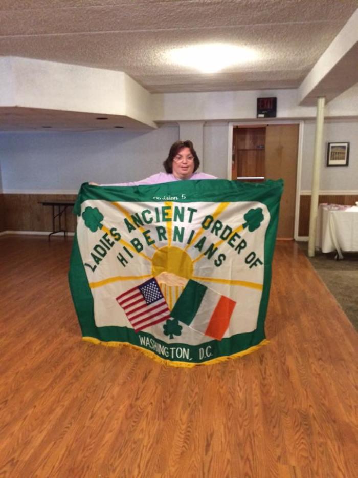 holding banner